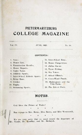 Maritzburg College Magazine June 1925