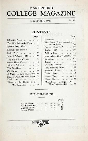 Maritzburg College Magazine December 1947