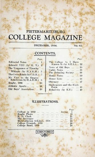 Maritzburg College Magazine December 1936