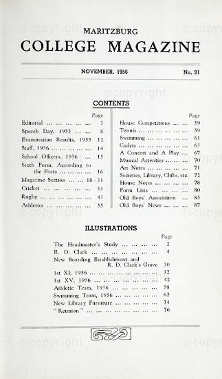 Maritzburg College Magazine November 1956