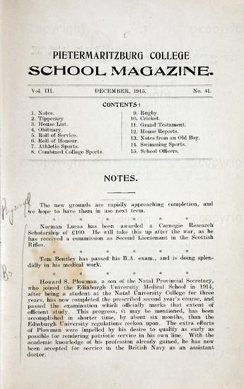 Maritzburg College Magazine December 1915