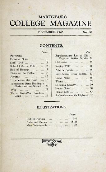 Maritzburg College Magazine December 1945