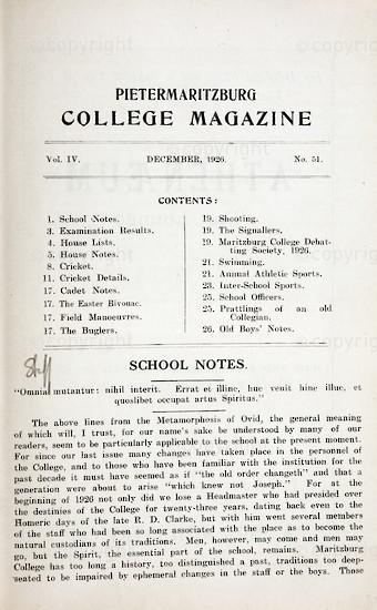 Maritzburg College Magazine December 1926