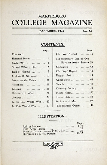 Maritzburg College Magazine December 1944