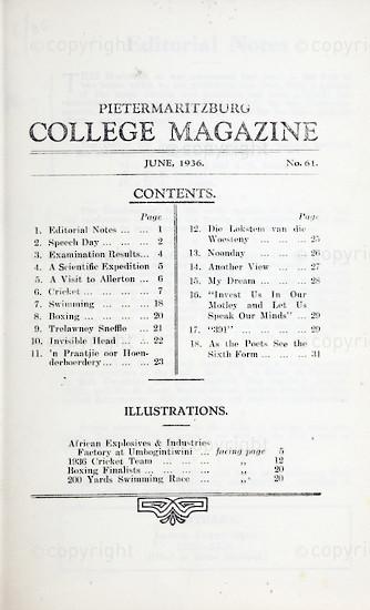 Maritzburg College Magazine June 1936