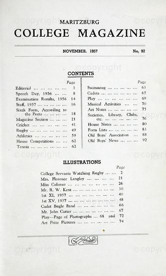 Maritzburg College Magazine November 1957