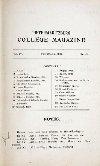 Maritzburg College Magazine February 1924