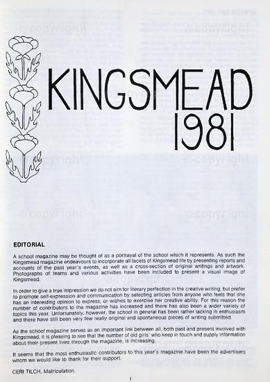Kingsmead College Magazine, 1981