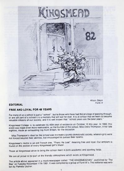 Kingsmead College Magazine, 1982