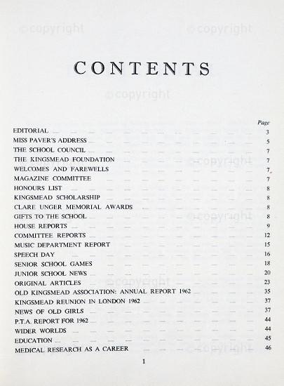 Kingsmead College Magazine 1962