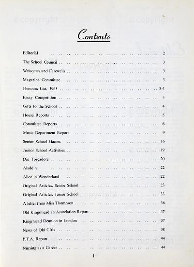 Kingsmead College Magazine 1965