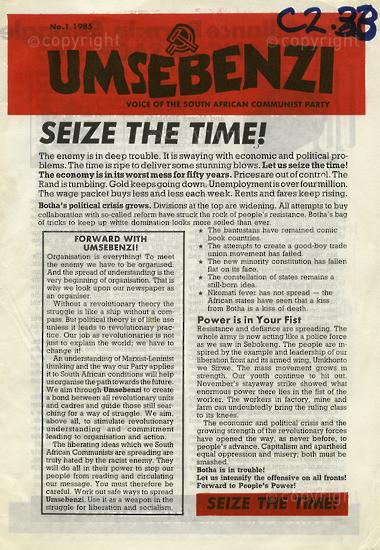 HWC_A1001: Umsebenzi, Vol.1,Issue number 1,1985