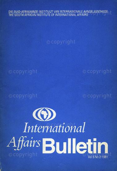 HWC_A3023: International Affairs Bulletin, Vol.5, Issue Number 2.