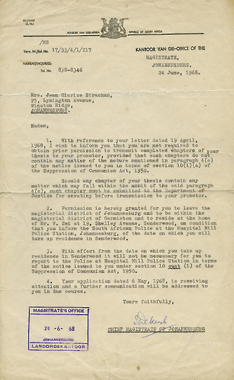 BFC_A3010: Letter from the Magistrate Office to Mrs J C. Stachan