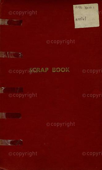 BFC_A3008: Red Scrapbook I (Newspaper Clippings)