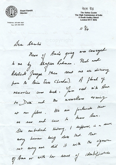 NFC_C1008: Letter: From Gopal Gandhi to Shantie Naidoo