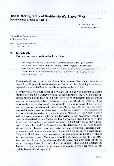 RKC_B3007:  The Historiography of Umkhonto We Sizwe (MK)