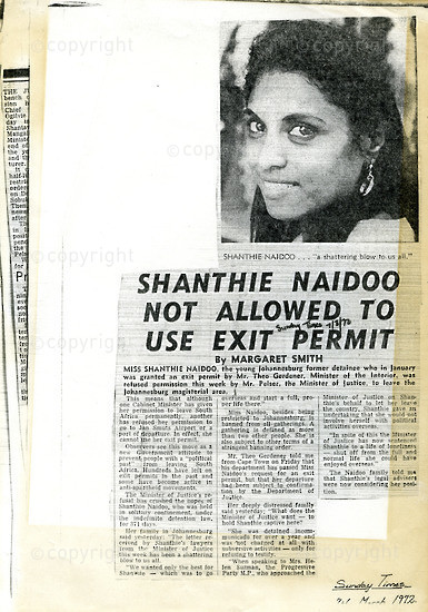 NFC_C1023: Newspaper Clipping: Shantie Naidoo  not Allowed to  use exit permit