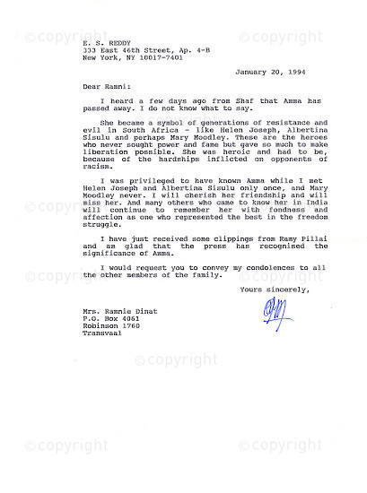 NFC_C1009: Letter: From E.S Reddy to Ramnie Diant