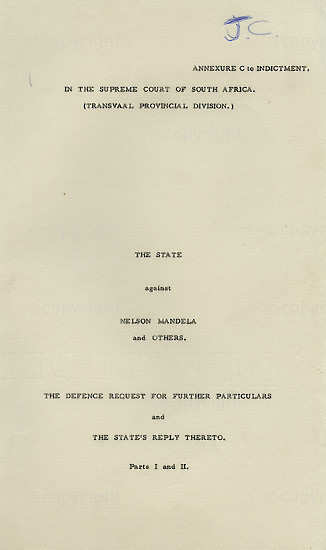 WKC_A1015: Legal Proceedings: The State vs Nelson Mandela and Others