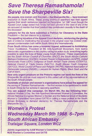 WKC_A2002: Save Theresa Ramashamola! Save The Sharpeville Six!