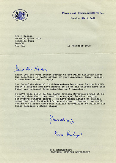 NFC_C1091: Letter - From W.K Prendergast to M. Naidoo
