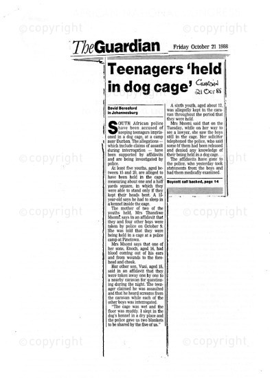 NFC_C1088: Newspaper Clipping: Teenagers 'held in dog cage'
