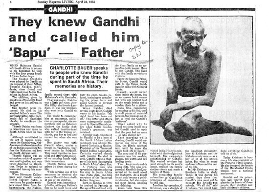 NFC_C1039: Newspaper Clipping: They Knew Gandhi and called Him 'Bapu' - Farther
