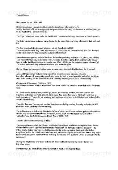 NFC_C1055: Thambi Naidoo: A Chronological Biography