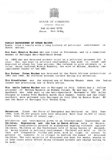 NFC_C1125: Fax: To The House of Commons