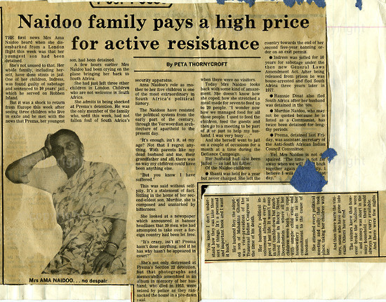 NFC_C1028: Newspaper Clipping: Naidoo Family pays a high Price for active resistance