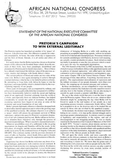 NFC_C1089: Statement of the National Executive Committee of the African National Congress