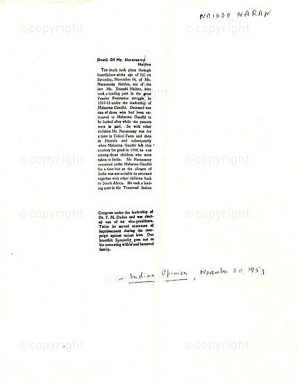 NFC_C1067: Newspaper Clipping: Death of Mr. Naransamy Naidoo