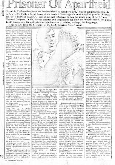 NFC_C1074: Newspaper Clipping: Prisoner of Apartheid