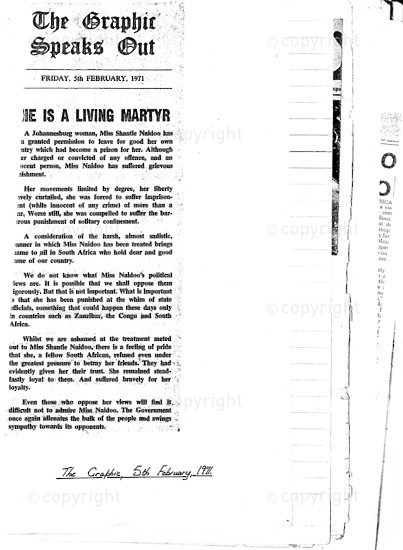 NFC_C1063: Newspaper Clipping: He is a Living Martyr