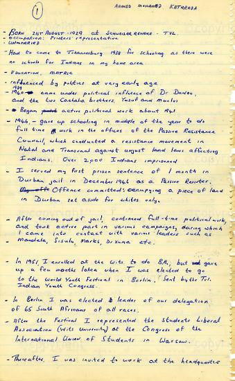 WKC_A1010: Handwritten Biography: Ahmed Kathrada