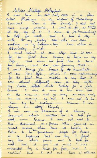 WKC_A1004: Handwritten Biography: Elias Mostoaledi