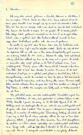 WKC_A1006: Handwritten Biography: Lionel Bernstein