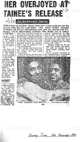 NFC_C1106: Newspaper Clipping: Mother Overjoyed at Detainees Release