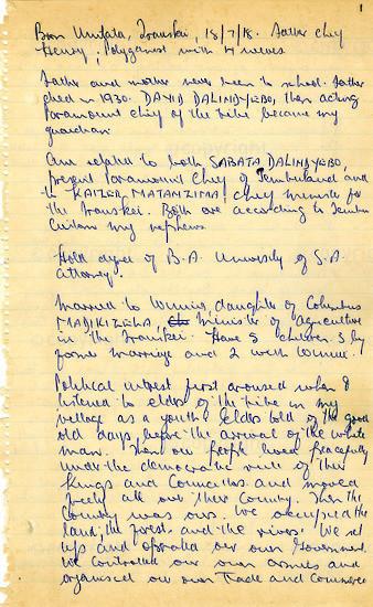 WKC_A1009: Handwritten Biography: Nelson Mandela