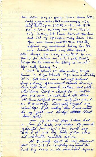 WKC_A1007: Handwritten Biography: Dennis Goldberg