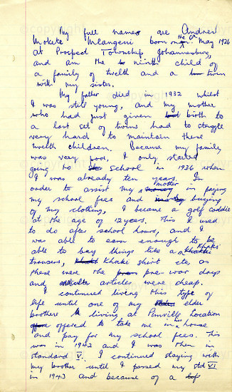 WKC_A1001: Handwritten Biography: Andrew Mlagenei