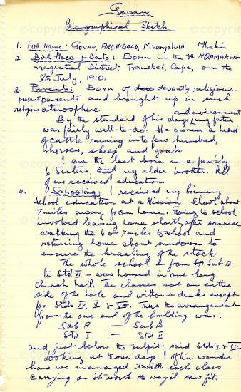 WKC_A1005: Handwritten Biography: Govan Mbeki
