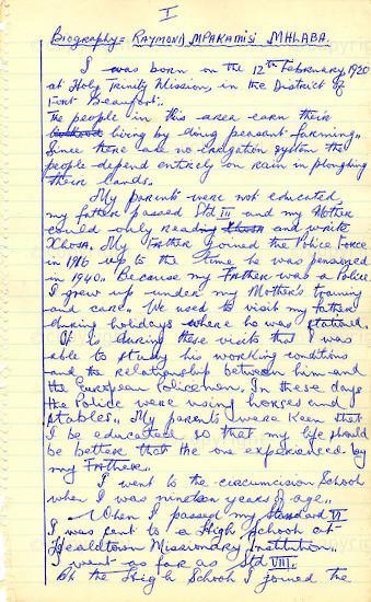 WKC_A1002: Handwritten Biography: Raymond Mhlaba's
