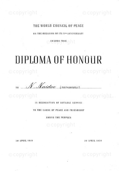 NFC_C1065: Certificate - Diploma of Honour Awarded to N.Naidoo