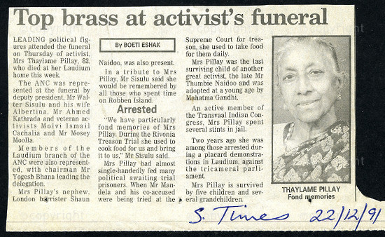 NFC_C1081: Newspaper Clipping:  Top brass at activist's funeral