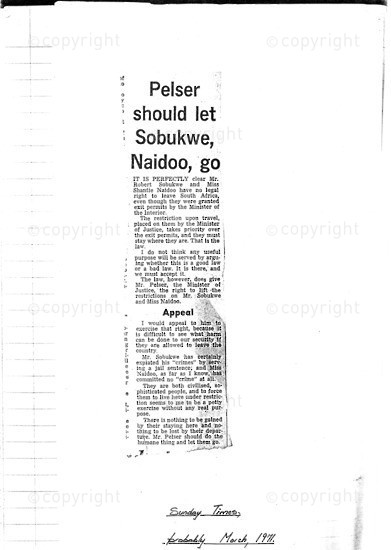 NFC_C1062: Newspaper Clipping: Pelser should let Sobukwe, Naidoo, go