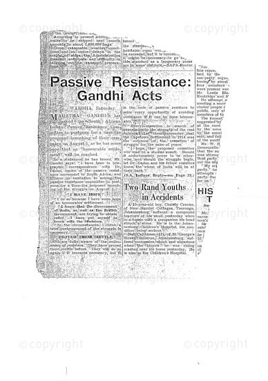NFC_C1068: Newspaper Clipping: Ghandi Acts