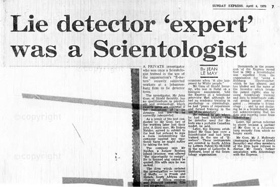 NFC_C1095: Newspaper Clipping: Lie detector 'expert' was a Scientologist