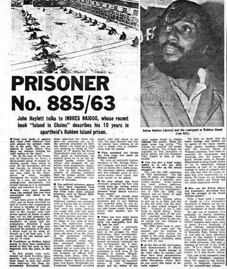 NFC_C1034: Newspaper Clipping: Prisoner No. 885/63
